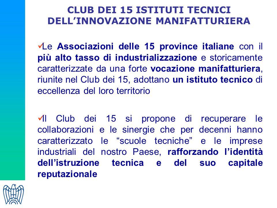 CLUB DEI 15 ISTITUTI TECNICI DELL'INNOVAZIONE MANIFATTURIERA Le Associazioni delle 15 province italiane con il più alto tasso di industrializzazione e