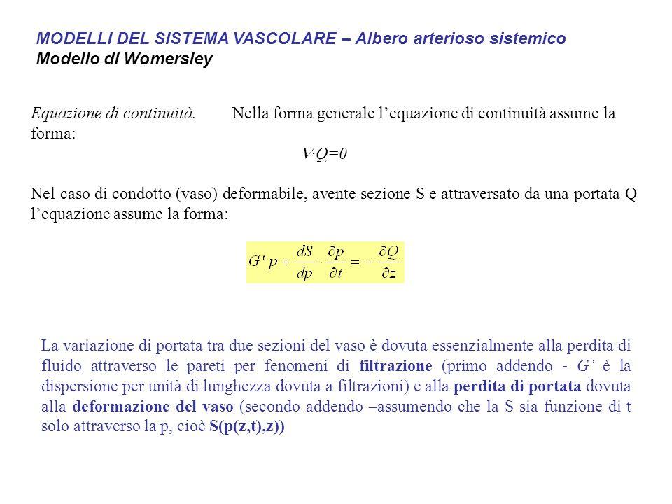 Equazione di continuità.Nella forma generale l'equazione di continuità assume la forma:  ·Q=0 Nel caso di condotto (vaso) deformabile, avente sezione