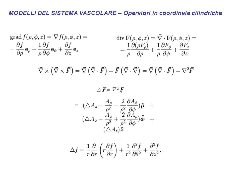 MODELLI DEL SISTEMA VASCOLARE – Operatori in coordinate cilindriche.,  F   F = =