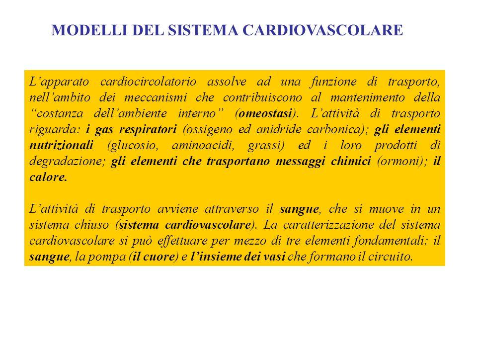 MODELLI DEL SISTEMA CARDIOVASCOLARE L'apparato cardiocircolatorio assolve ad una funzione di trasporto, nell'ambito dei meccanismi che contribuiscono