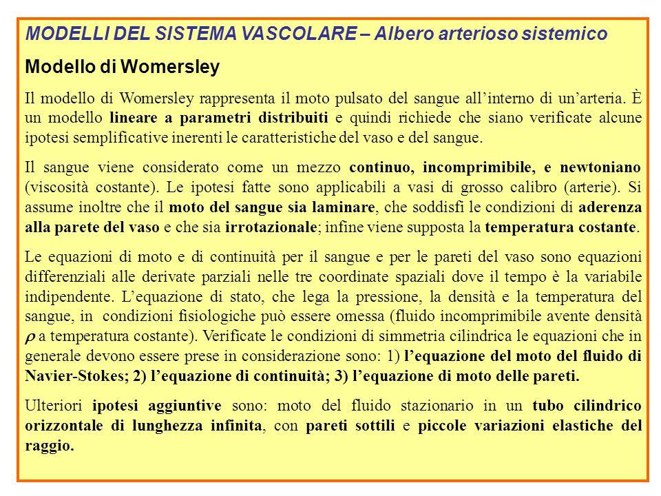 MODELLI DEL SISTEMA VASCOLARE – Albero arterioso sistemico Modello di Womersley Il modello di Womersley rappresenta il moto pulsato del sangue all'int