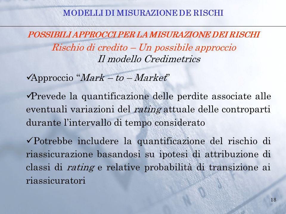 """18 POSSIBILI APPROCCI PER LA MISURAZIONE DEI RISCHI Rischio di credito – Un possibile approccio Il modello Credimetrics Approccio """"Mark – to – Market"""""""