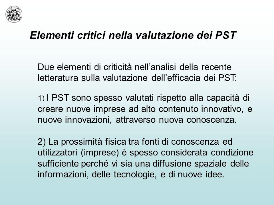 Elementi critici nella valutazione dei PST Due elementi di criticità nell'analisi della recente letteratura sulla valutazione dell'efficacia dei PST: 1) I PST sono spesso valutati rispetto alla capacità di creare nuove imprese ad alto contenuto innovativo, e nuove innovazioni, attraverso nuova conoscenza.