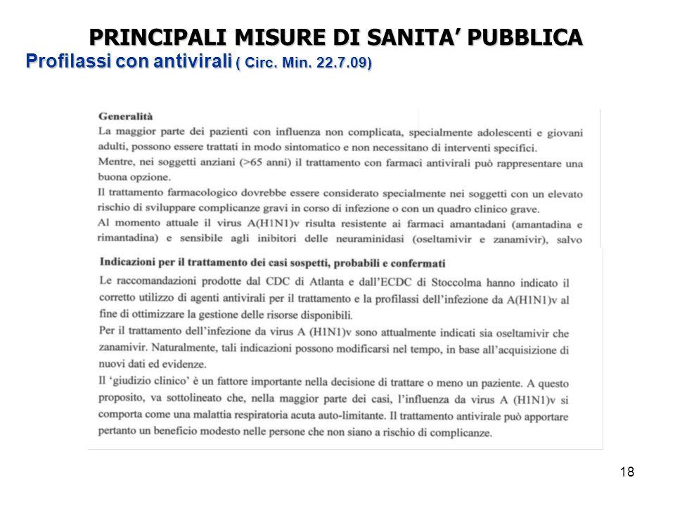 18 PRINCIPALI MISURE DI SANITA' PUBBLICA Profilassi con antivirali ( Circ. Min. 22.7.09)