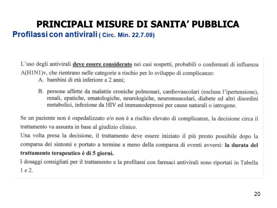 20 PRINCIPALI MISURE DI SANITA' PUBBLICA Profilassi con antivirali ( Circ. Min. 22.7.09)