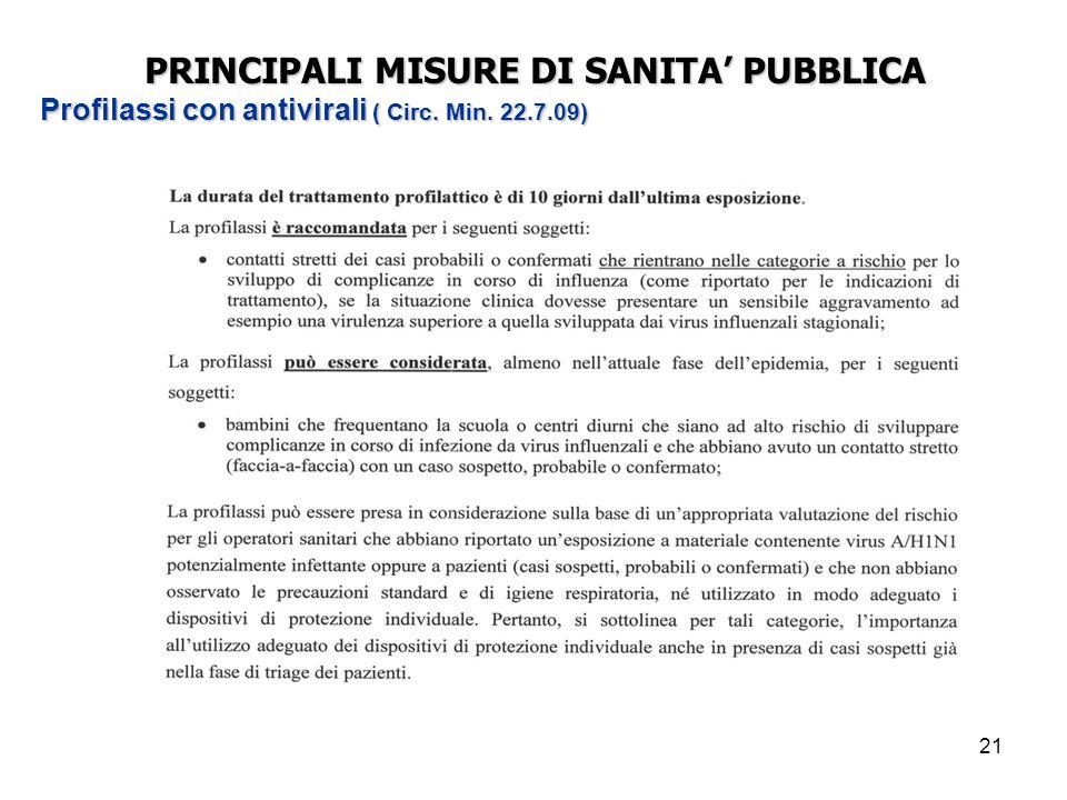 21 PRINCIPALI MISURE DI SANITA' PUBBLICA Profilassi con antivirali ( Circ. Min. 22.7.09)