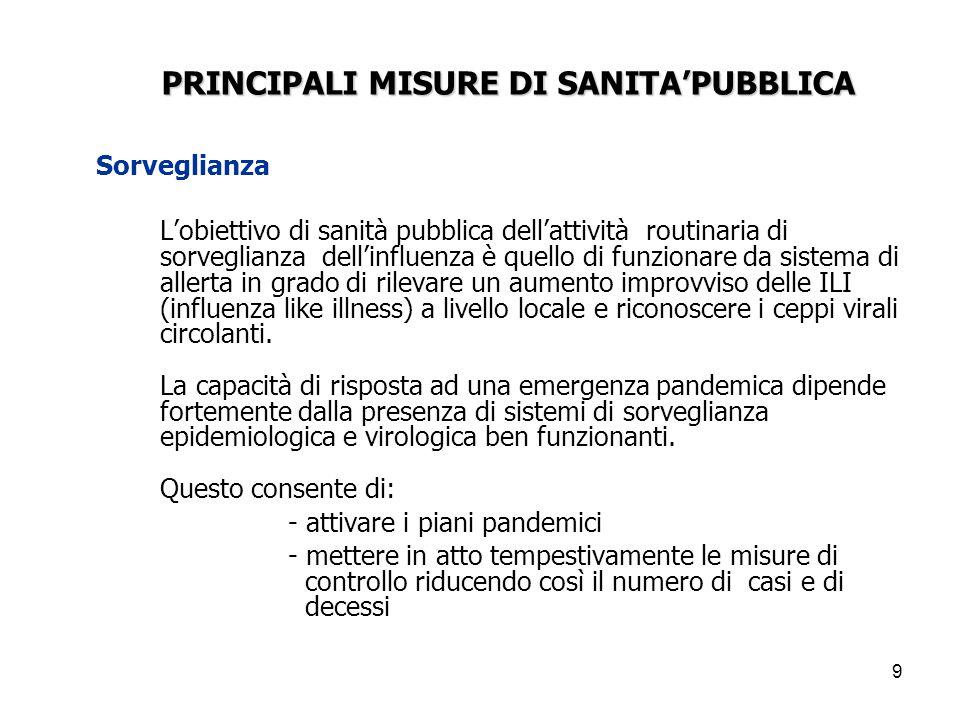 9 Sorveglianza L'obiettivo di sanità pubblica dell'attività routinaria di sorveglianza dell'influenza è quello di funzionare da sistema di allerta in grado di rilevare un aumento improvviso delle ILI (influenza like illness) a livello locale e riconoscere i ceppi virali circolanti.