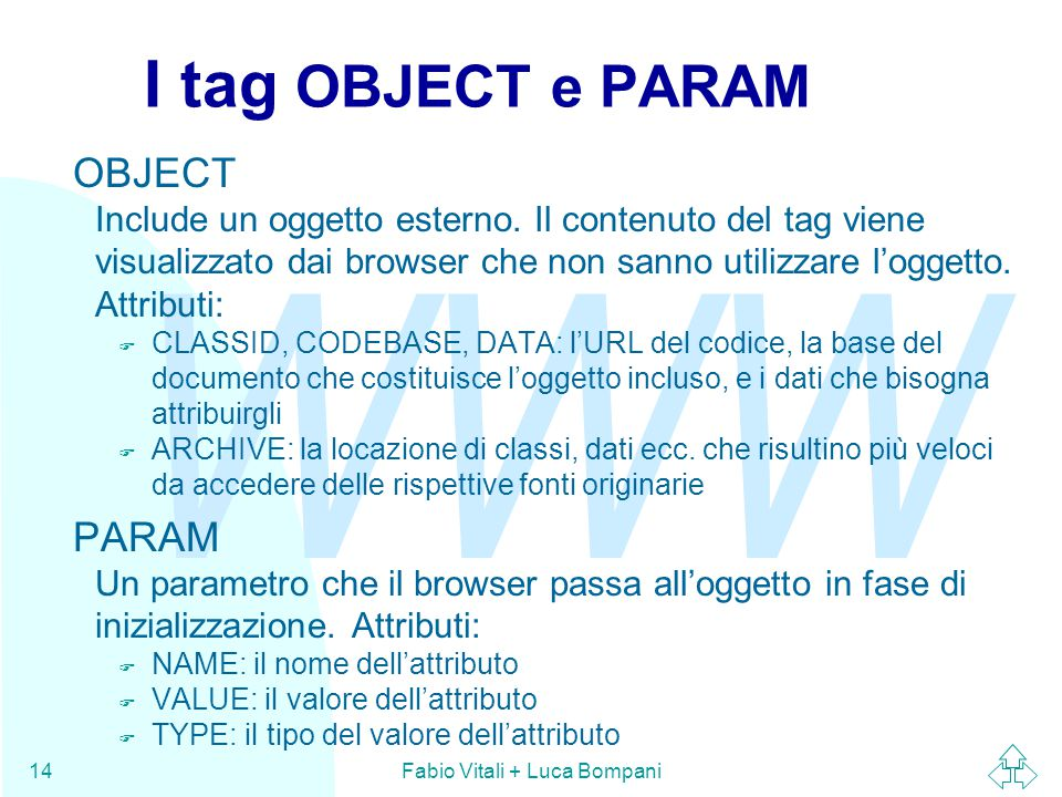 WWW Fabio Vitali + Luca Bompani14 I tag OBJECT e PARAM OBJECT Include un oggetto esterno. Il contenuto del tag viene visualizzato dai browser che non