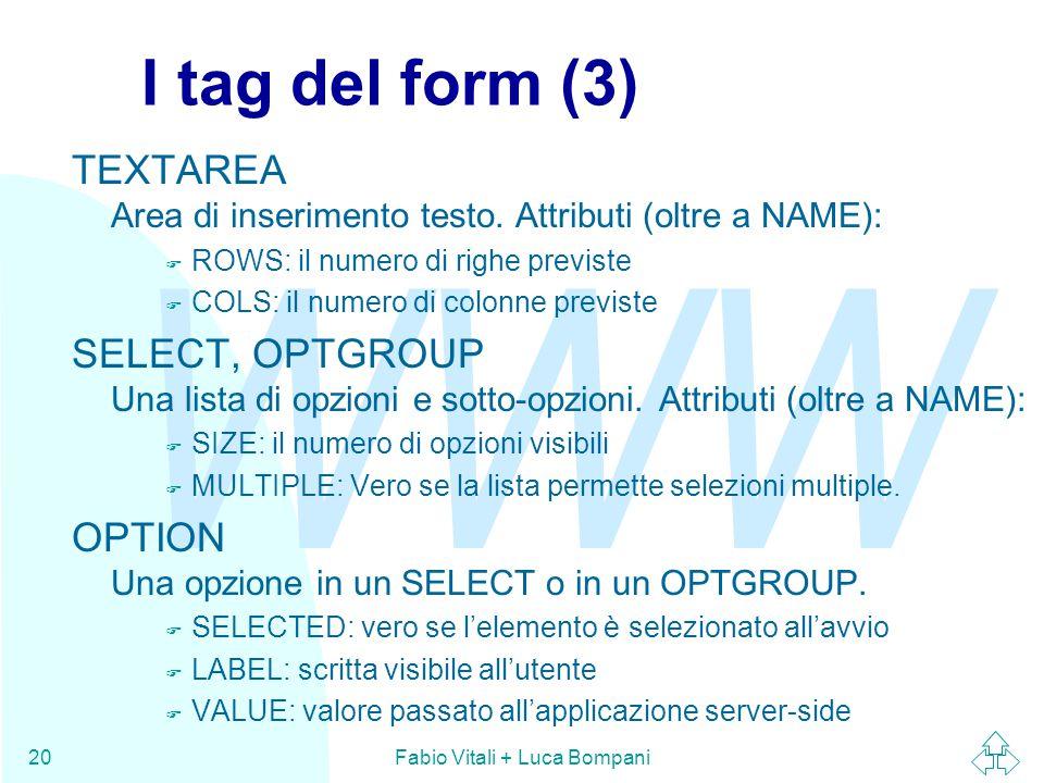 WWW Fabio Vitali + Luca Bompani20 I tag del form (3) TEXTAREA Area di inserimento testo. Attributi (oltre a NAME): F ROWS: il numero di righe previste