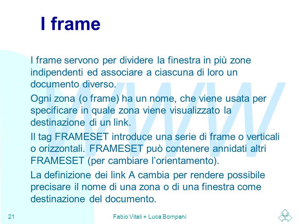 WWW Fabio Vitali + Luca Bompani21 I frame I frame servono per dividere la finestra in più zone indipendenti ed associare a ciascuna di loro un documen