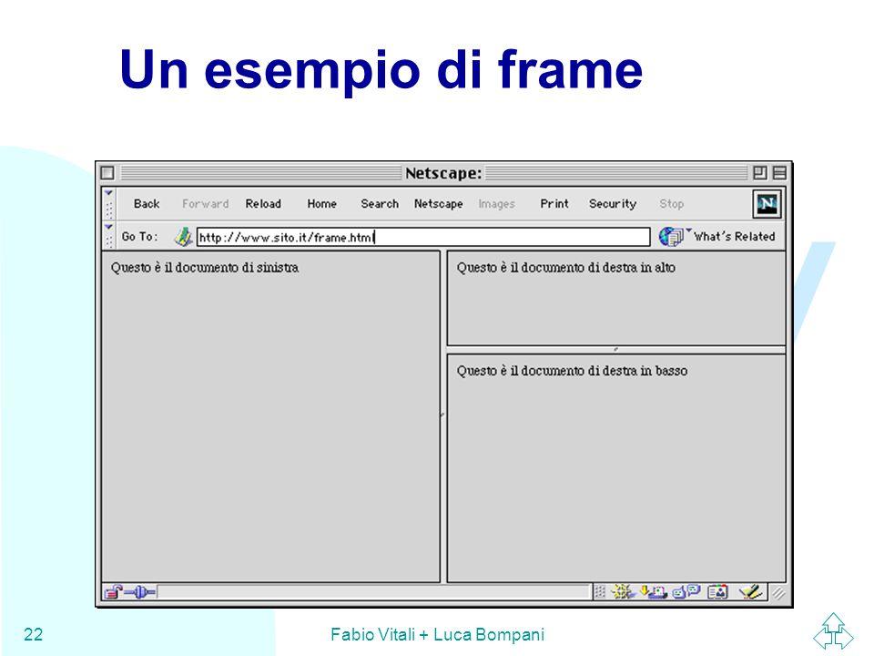 WWW Fabio Vitali + Luca Bompani22 Un esempio di frame