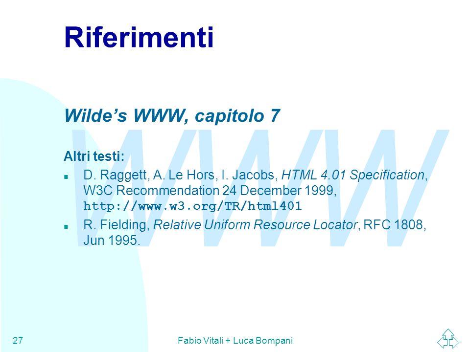 WWW Fabio Vitali + Luca Bompani27 Riferimenti Wilde's WWW, capitolo 7 Altri testi: D. Raggett, A. Le Hors, I. Jacobs, HTML 4.01 Specification, W3C Rec