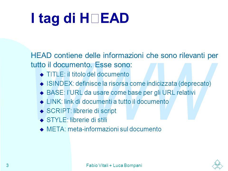 WWW Fabio Vitali + Luca Bompani3 I tag di HEAD HEAD contiene delle informazioni che sono rilevanti per tutto il documento. Esse sono: u TITLE: il tito
