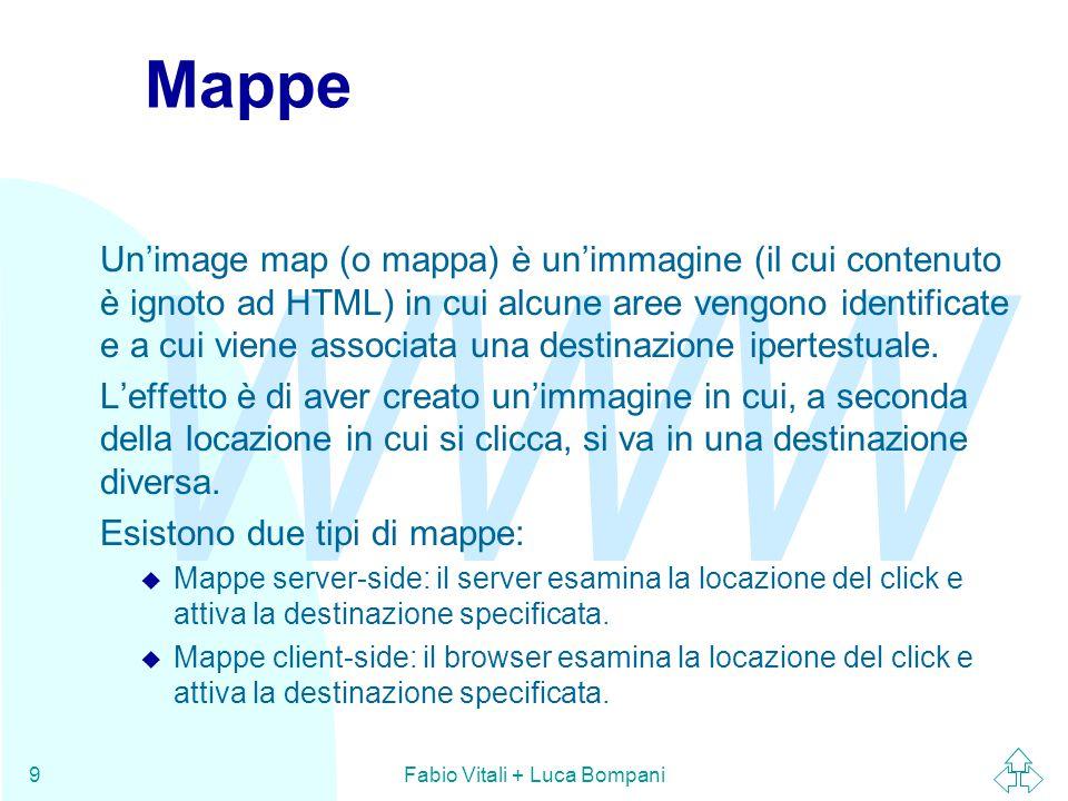 WWW Fabio Vitali + Luca Bompani9 Mappe Un'image map (o mappa) è un'immagine (il cui contenuto è ignoto ad HTML) in cui alcune aree vengono identificat