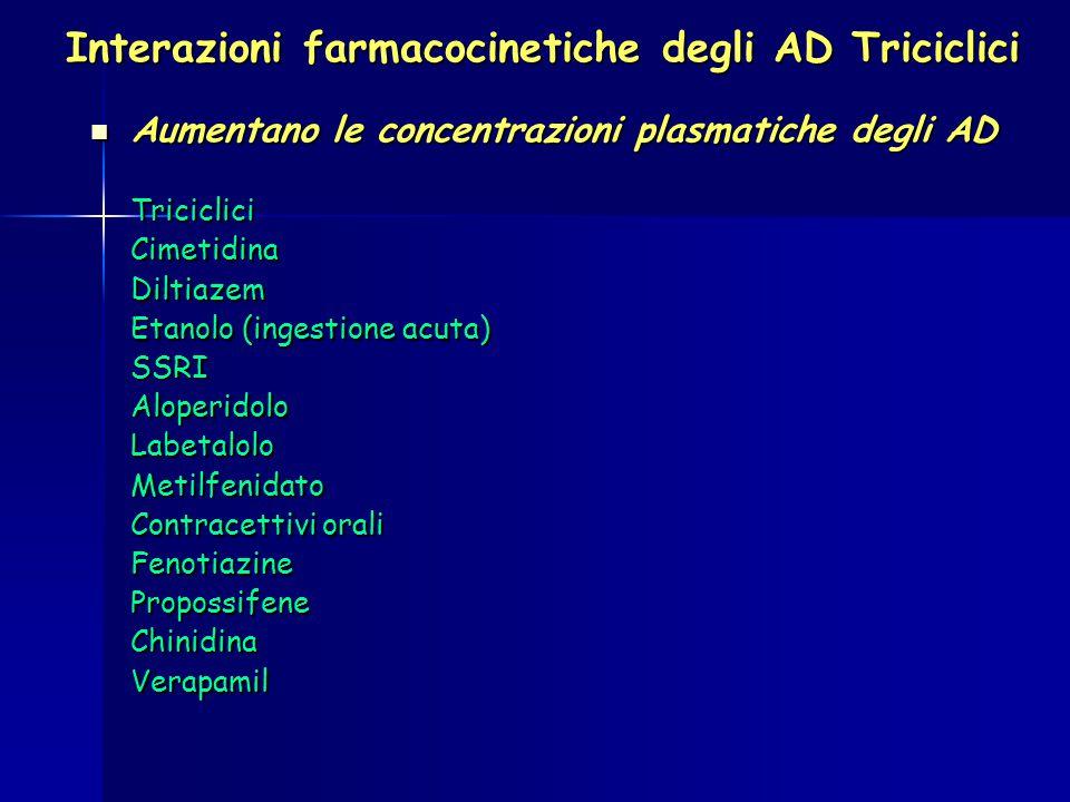 Abbassano le concentrazioni plasmatiche degli AD Abbassano le concentrazioni plasmatiche degli ADBarbituriciCarbamazepina Etanolo, ingestione cronica Fenitoina Elevano le concentrazioni plasmatiche di Elevano le concentrazioni plasmatiche diIdantoina Anticoagulanti orali Riducono le concentrazioni plasmatiche di Riducono le concentrazioni plasmatiche diL-DOPA Interazioni farmacocinetiche degli AD Triciclici