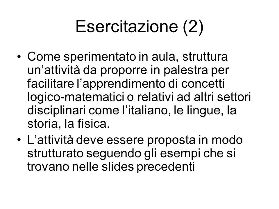 Esercitazione (2) Come sperimentato in aula, struttura un'attività da proporre in palestra per facilitare l'apprendimento di concetti logico-matematici o relativi ad altri settori disciplinari come l'italiano, le lingue, la storia, la fisica.
