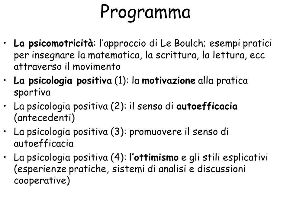 Programma La psicomotricità: l'approccio di Le Boulch; esempi pratici per insegnare la matematica, la scrittura, la lettura, ecc attraverso il movimento La psicologia positiva (1): la motivazione alla pratica sportiva La psicologia positiva (2): il senso di autoefficacia (antecedenti) La psicologia positiva (3): promuovere il senso di autoefficacia La psicologia positiva (4): l'ottimismo e gli stili esplicativi (esperienze pratiche, sistemi di analisi e discussioni cooperative)