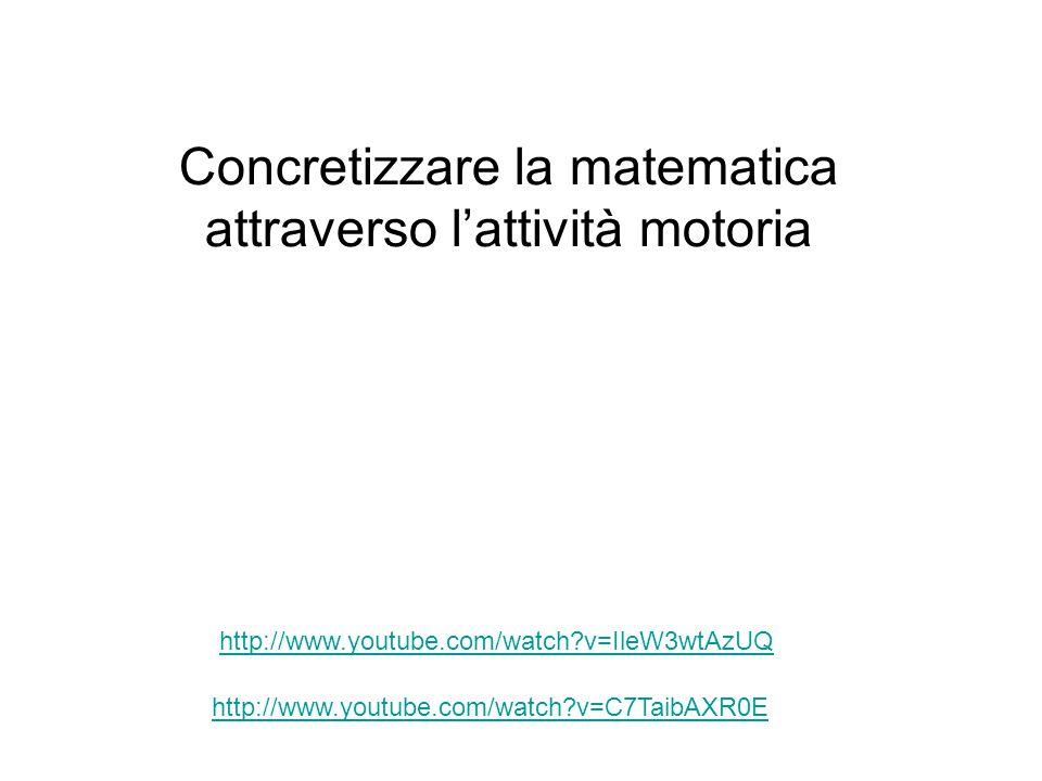 http://www.youtube.com/watch?v=C7TaibAXR0E http://www.youtube.com/watch?v=IleW3wtAzUQ Concretizzare la matematica attraverso l'attività motoria