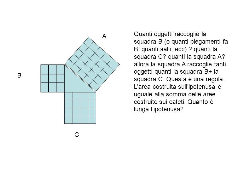 A B C Quanti oggetti raccoglie la squadra B (o quanti piegamenti fa B; quanti salti; ecc) .