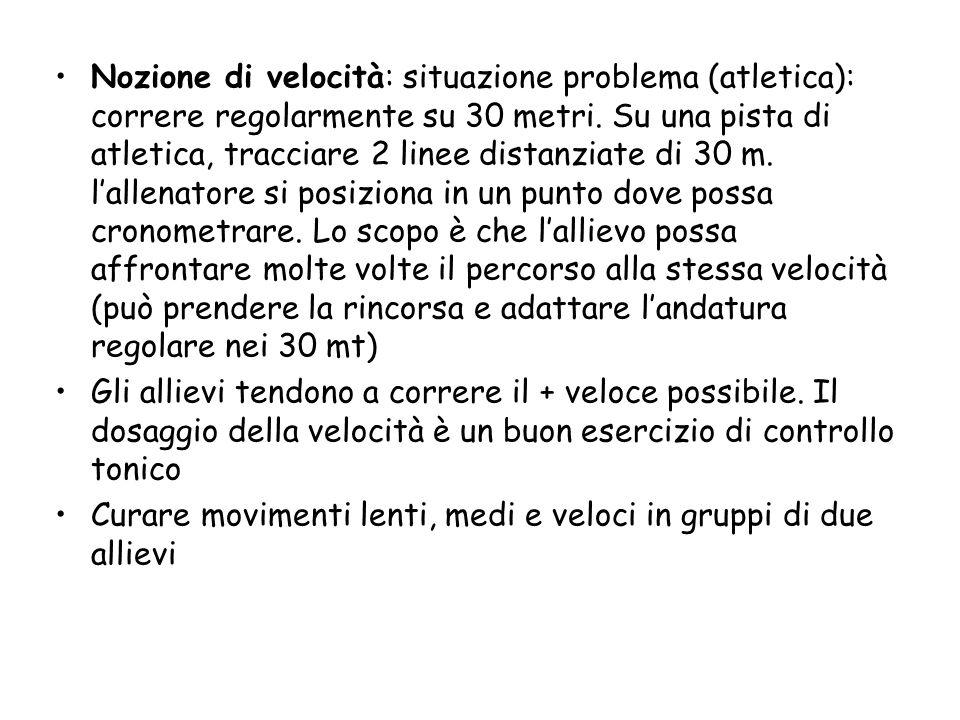 Nozione di velocità: situazione problema (atletica): correre regolarmente su 30 metri.