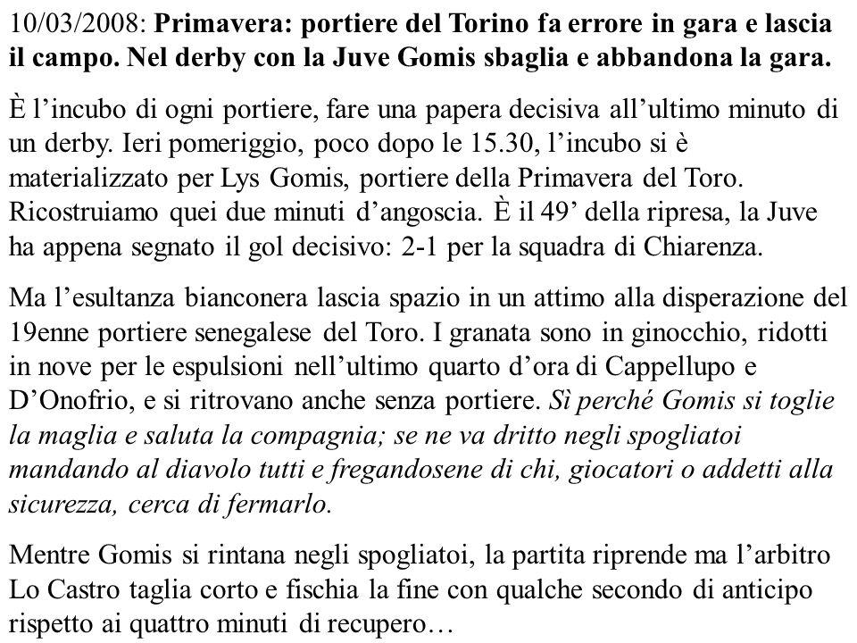 10/03/2008: Primavera: portiere del Torino fa errore in gara e lascia il campo.