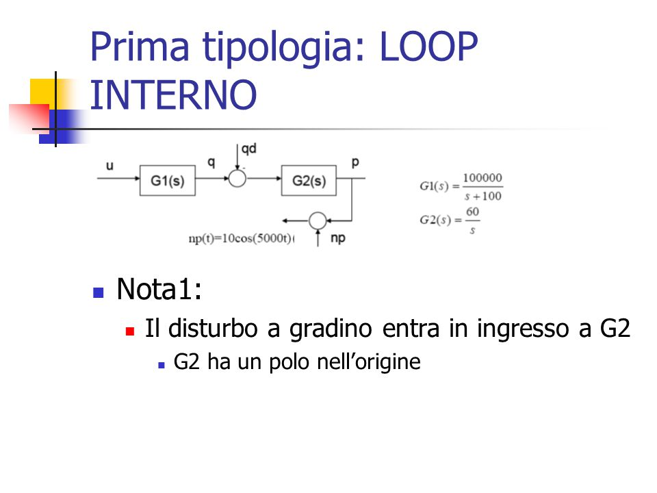 Prima tipologia: LOOP INTERNO Nota1: Il disturbo a gradino entra in ingresso a G2 G2 ha un polo nell'origine