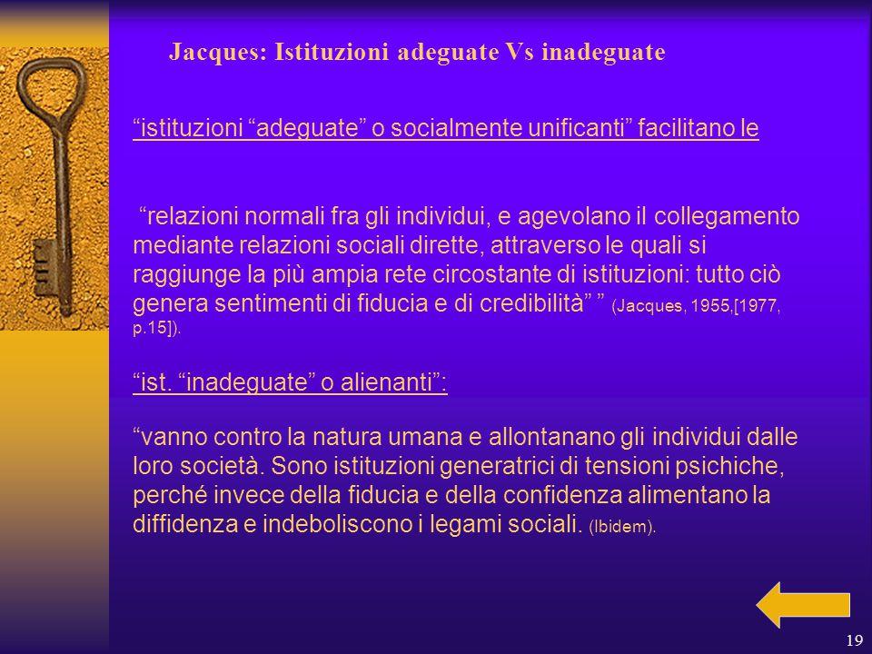 19 Jacques: Istituzioni adeguate Vs inadeguate istituzioni adeguate o socialmente unificanti facilitano le ist.