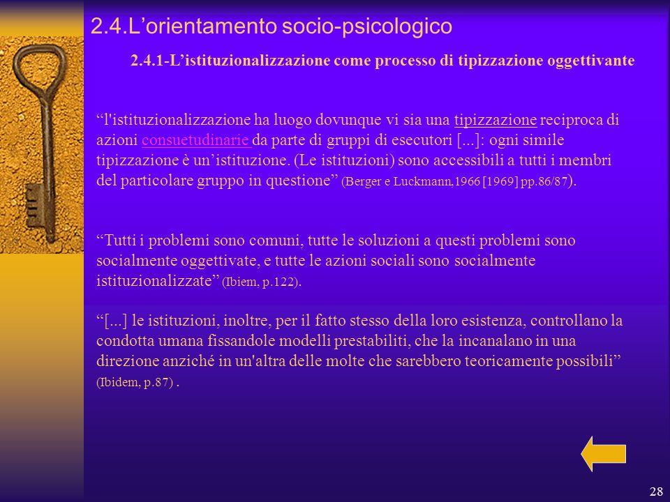 28 2.4.L'orientamento socio-psicologico 2.4.1-L'istituzionalizzazione come processo di tipizzazione oggettivante l istituzionalizzazione ha luogo dovunque vi sia una tipizzazione reciproca di azioni consuetudinarie da parte di gruppi di esecutori [...]: ogni simile tipizzazione è un'istituzione.