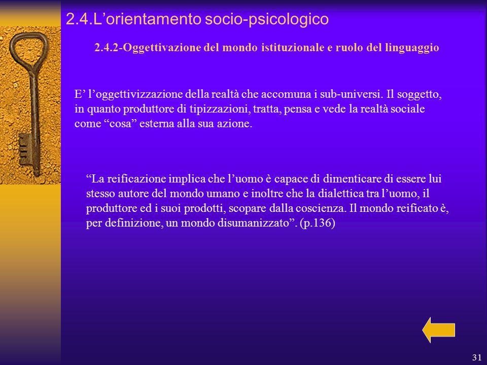 31 2.4.L'orientamento socio-psicologico 2.4.2-Oggettivazione del mondo istituzionale e ruolo del linguaggio E' l'oggettivizzazione della realtà che accomuna i sub-universi.