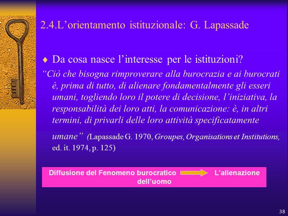 38 2.4.L'orientamento istituzionale: G. Lapassade  Da cosa nasce l'interesse per le istituzioni.