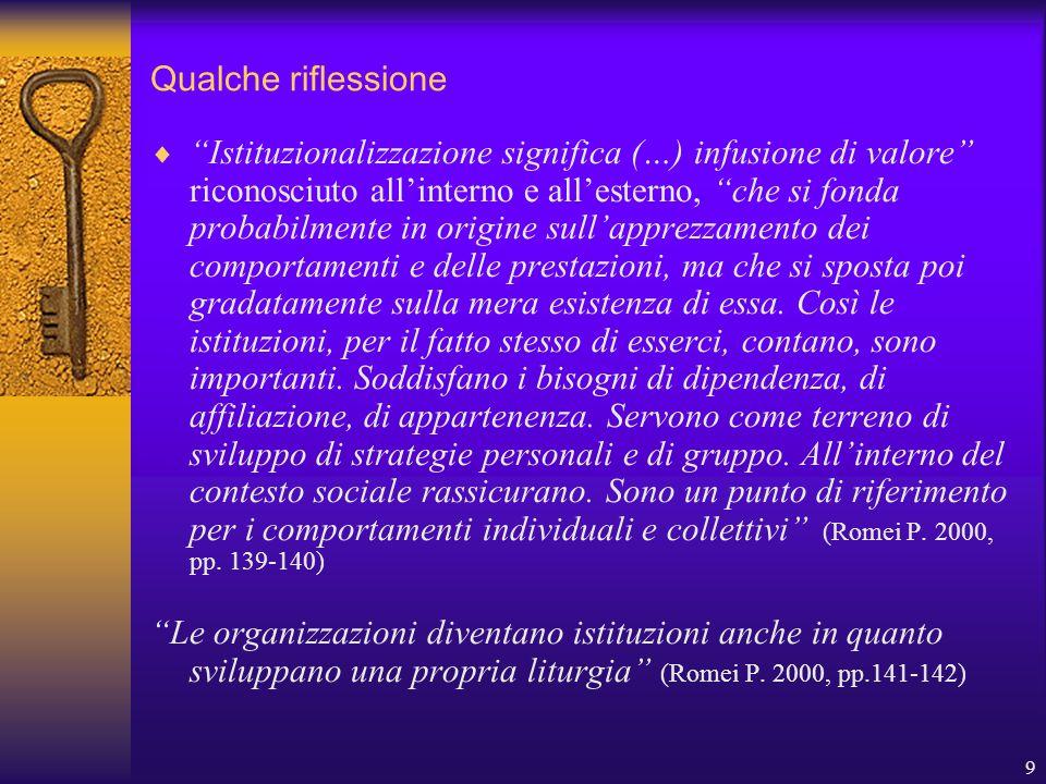 9 Qualche riflessione  Istituzionalizzazione significa (…) infusione di valore riconosciuto all'interno e all'esterno, che si fonda probabilmente in origine sull'apprezzamento dei comportamenti e delle prestazioni, ma che si sposta poi gradatamente sulla mera esistenza di essa.