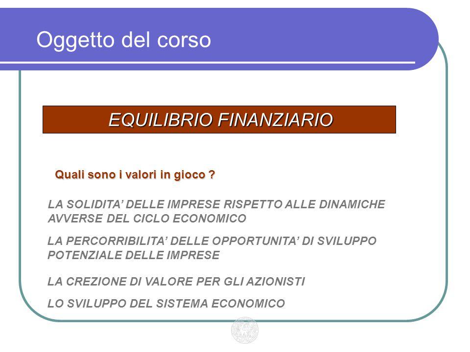 Oggetto del corso EQUILIBRIO FINANZIARIO LA SOLIDITA' DELLE IMPRESE RISPETTO ALLE DINAMICHE AVVERSE DEL CICLO ECONOMICO Quali sono i valori in gioco .