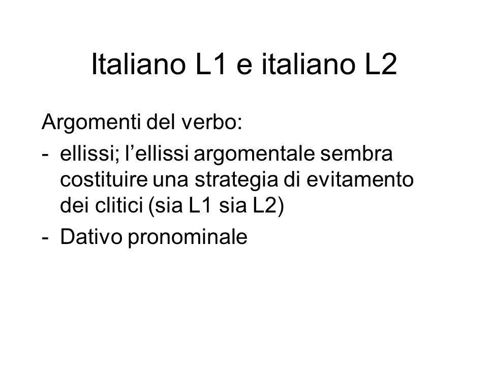 Italiano L1 e italiano L2 Argomenti del verbo: -ellissi; l'ellissi argomentale sembra costituire una strategia di evitamento dei clitici (sia L1 sia L2) -Dativo pronominale