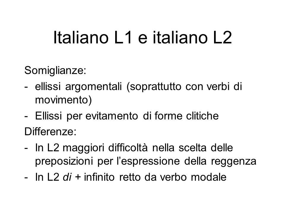 Italiano L1 e italiano L2 Somiglianze: -ellissi argomentali (soprattutto con verbi di movimento) -Ellissi per evitamento di forme clitiche Differenze: -In L2 maggiori difficoltà nella scelta delle preposizioni per l'espressione della reggenza -In L2 di + infinito retto da verbo modale