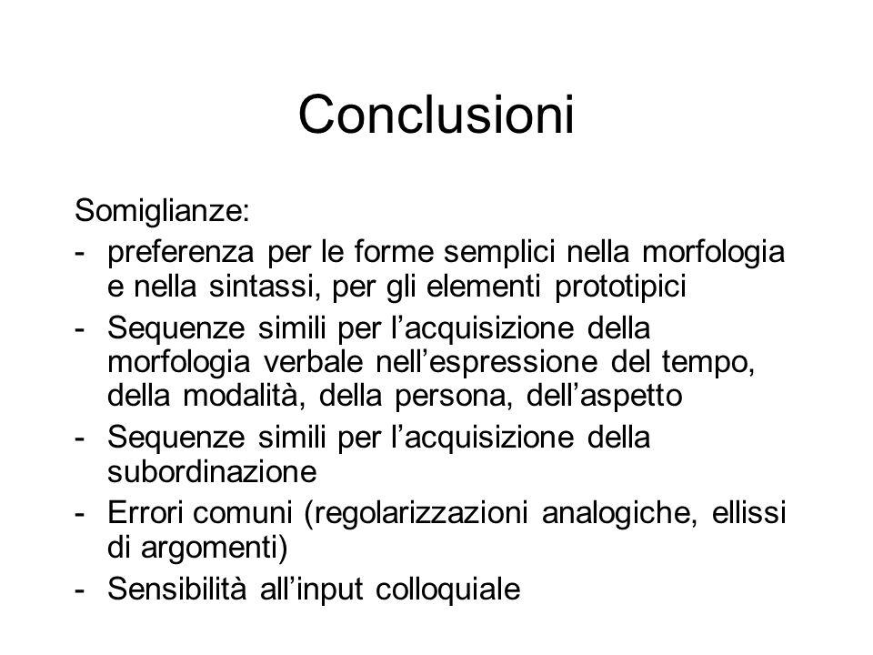 Conclusioni Somiglianze: -preferenza per le forme semplici nella morfologia e nella sintassi, per gli elementi prototipici -Sequenze simili per l'acquisizione della morfologia verbale nell'espressione del tempo, della modalità, della persona, dell'aspetto -Sequenze simili per l'acquisizione della subordinazione -Errori comuni (regolarizzazioni analogiche, ellissi di argomenti) -Sensibilità all'input colloquiale