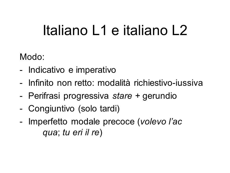 Italiano L1 e italiano L2 Modo: -Indicativo e imperativo -Infinito non retto: modalità richiestivo-iussiva -Perifrasi progressiva stare + gerundio -Congiuntivo (solo tardi) -Imperfetto modale precoce (volevo l'ac qua; tu eri il re)