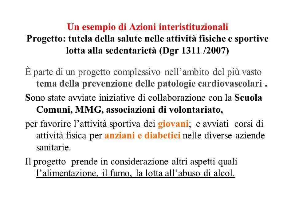 Un esempio di Azioni interistituzionali Progetto: tutela della salute nelle attività fisiche e sportive lotta alla sedentarietà (Dgr 1311 /2007) È par