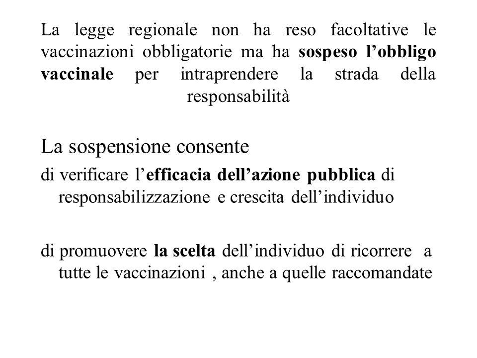 La legge regionale non ha reso facoltative le vaccinazioni obbligatorie ma ha sospeso l'obbligo vaccinale per intraprendere la strada della responsabi
