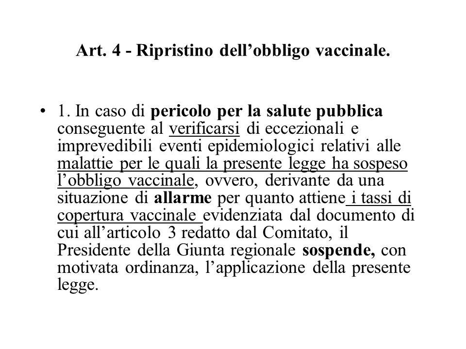 Art. 4 - Ripristino dell'obbligo vaccinale. 1. In caso di pericolo per la salute pubblica conseguente al verificarsi di eccezionali e imprevedibili ev