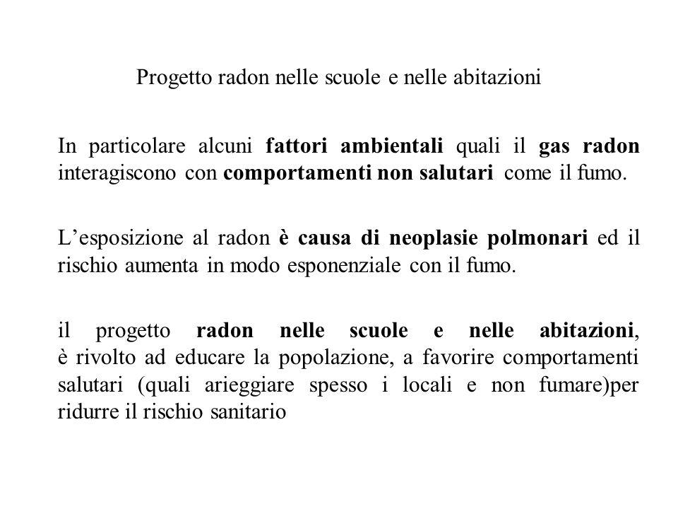 Progetto radon nelle scuole e nelle abitazioni In particolare alcuni fattori ambientali quali il gas radon interagiscono con comportamenti non salutar