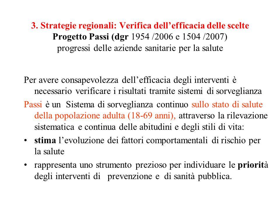 3. Strategie regionali: Verifica dell'efficacia delle scelte Progetto Passi (dgr 1954 /2006 e 1504 /2007) progressi delle aziende sanitarie per la sal