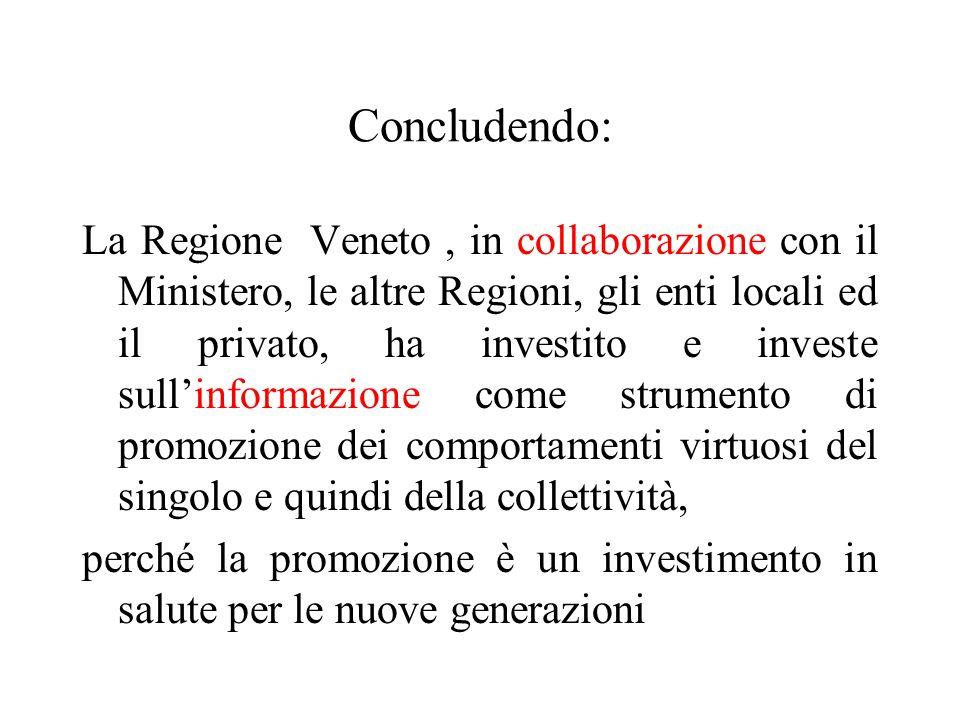 Concludendo: La Regione Veneto, in collaborazione con il Ministero, le altre Regioni, gli enti locali ed il privato, ha investito e investe sull'infor