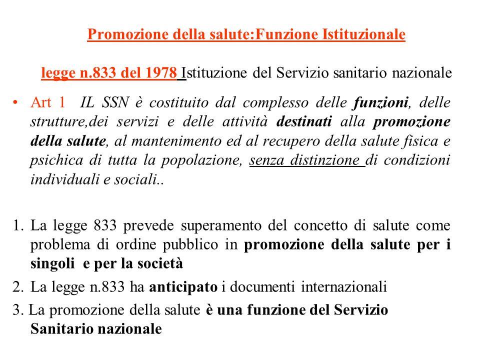 Promozione della salute:Funzione Istituzionale legge n.833 del 1978 Istituzione del Servizio sanitario nazionale Art 1 IL SSN è costituito dal comples