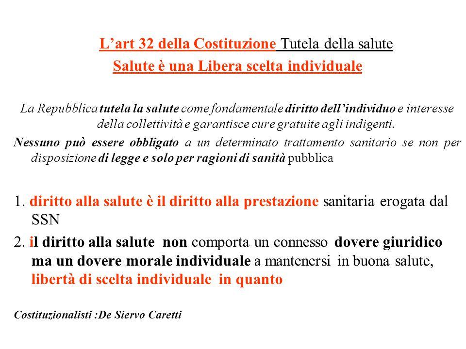 L'art 32 della Costituzione Tutela della salute Salute è una Libera scelta individuale La Repubblica tutela la salute come fondamentale diritto dell'i