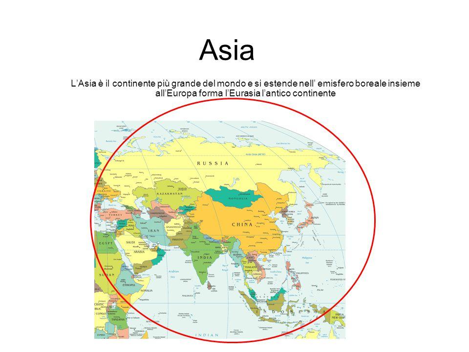 Asia L'Asia è il continente più grande del mondo e si estende nell' emisfero boreale insieme all'Europa forma l'Eurasia l'antico continente