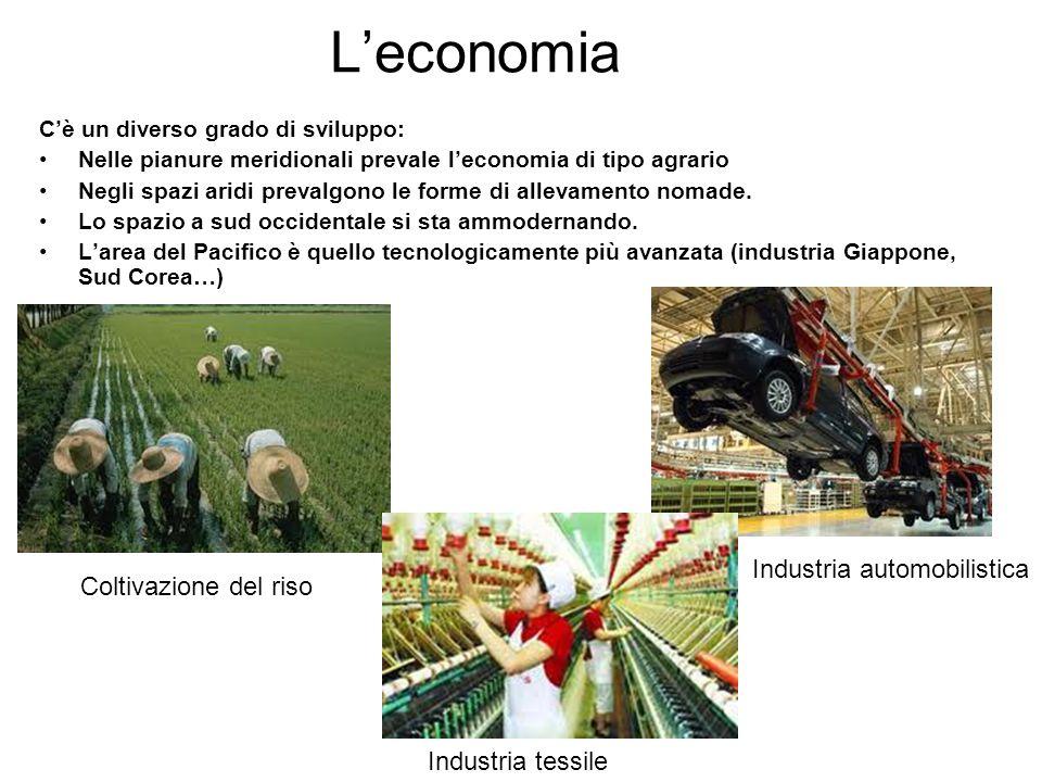 L'economia C'è un diverso grado di sviluppo: Nelle pianure meridionali prevale l'economia di tipo agrario Negli spazi aridi prevalgono le forme di all