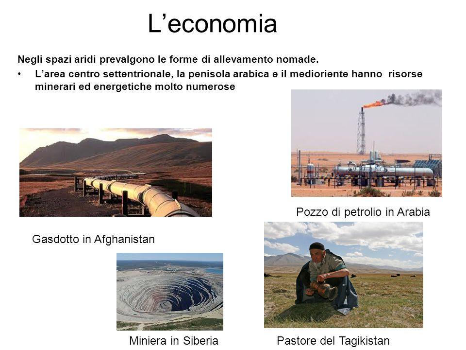 L'economia Negli spazi aridi prevalgono le forme di allevamento nomade. L'area centro settentrionale, la penisola arabica e il medioriente hanno risor