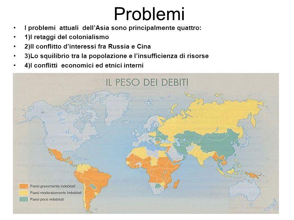 Problemi I problemi attuali dell'Asia sono principalmente quattro: 1)I retaggi del colonialismo 2)Il conflitto d'interessi fra Russia e Cina 3)Lo squi