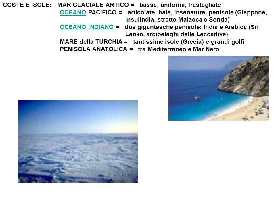 COSTE E ISOLE: MAR GLACIALE ARTICO = basse, uniformi, frastagliate OCEANO PACIFICO = articolate, baie, insenature, penisole (Giappone,OCEANO Insulindi