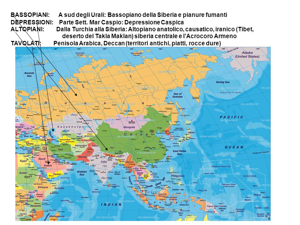BASSOPIANI: A sud degli Urali: Bassopiano della Siberia e pianure fumanti DEPRESSIONI: Parte Sett. Mar Caspio: Depressione Caspica ALTOPIANI: Dalla Tu